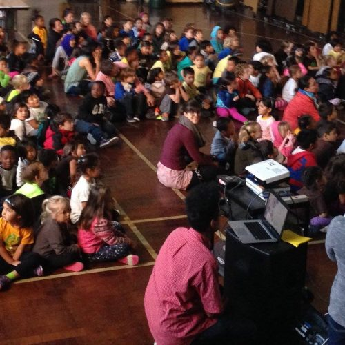 First reading to a school assembly